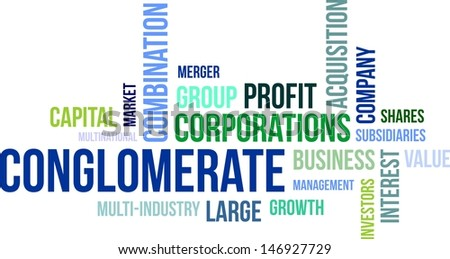A word cloud of conglomerate related items - stock vector