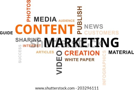 A word cloud of content marketing related items - stock vector