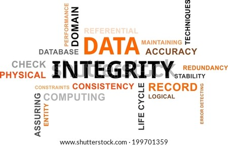 A word cloud of data integrity related items - stock vector