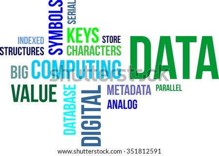 A word cloud of data related items