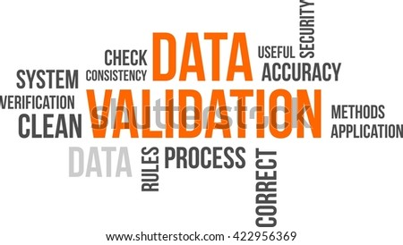 A word cloud of data validation related items - stock vector
