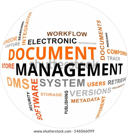 A word cloud of document management related items - stock vector
