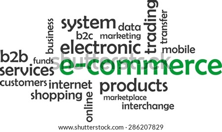 A word cloud of e-commerce related items - stock vector