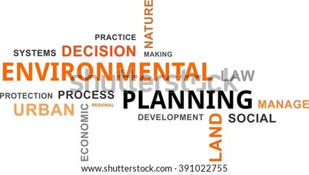 A word cloud of environmental planning related items - stock vector