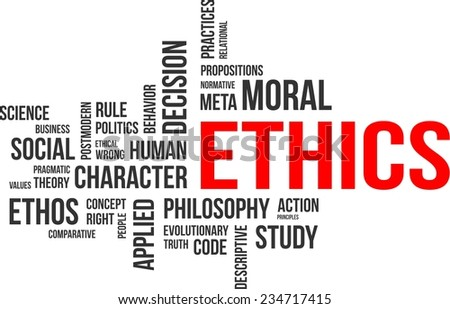 A word cloud of ethics related items - stock vector
