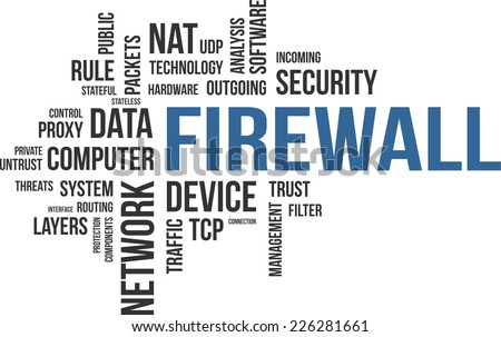 A word cloud of firewall related items - stock vector