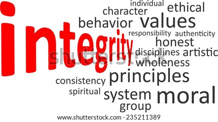 A word cloud of integrity related items - stock vector