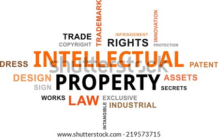 A word cloud of intellectual property related items - stock vector