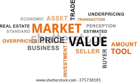 A word cloud of market value related items - stock vector