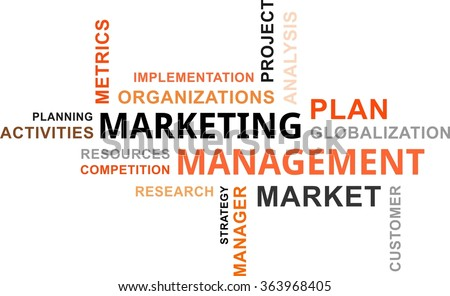 A word cloud of marketing management related items - stock vector