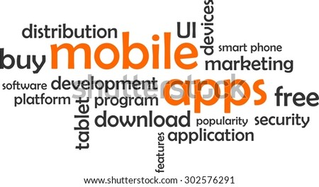 A word cloud of mobile apps related items - stock vector
