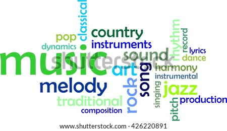 A word cloud of music related items - stock vector