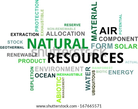 A word cloud of natural resources related items - stock vector