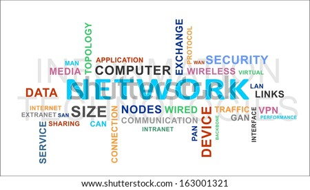 A word cloud of network related items - stock vector