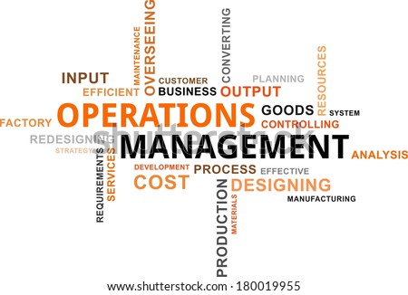 A word cloud of operations management related items - stock vector