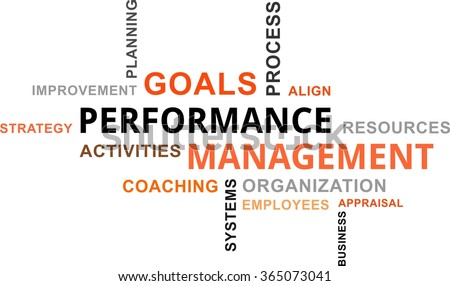 A word cloud of performance management related items - stock vector