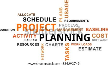 A word cloud of project planning relates items - stock vector