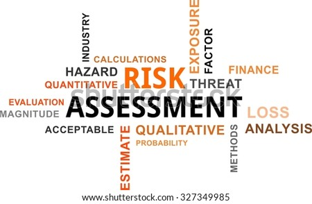 A word cloud of risk assessment related items - stock vector