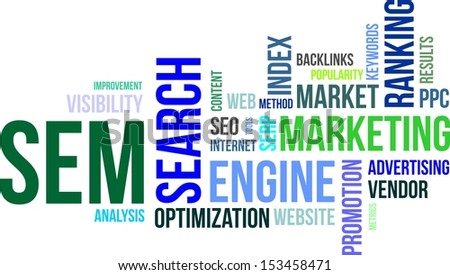 A word cloud of search engine marketing related items - stock vector
