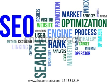 A word cloud of search engine optimization related items - stock vector