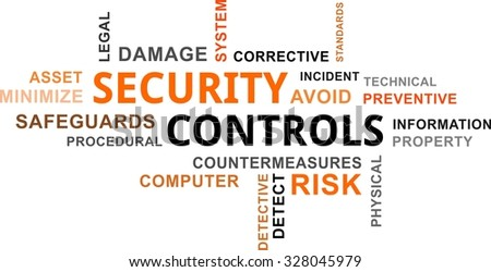 A word cloud of security controls related items - stock vector
