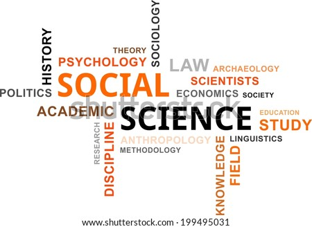 A word cloud of social science related items - stock vector