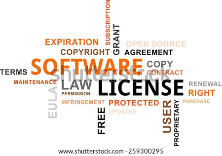A word cloud of software license related items - stock vector