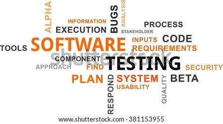 A word cloud of software testing related items - stock vector