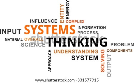 A word cloud of systems thinking related items - stock vector