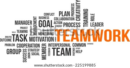 A word cloud of teamwork related items - stock vector