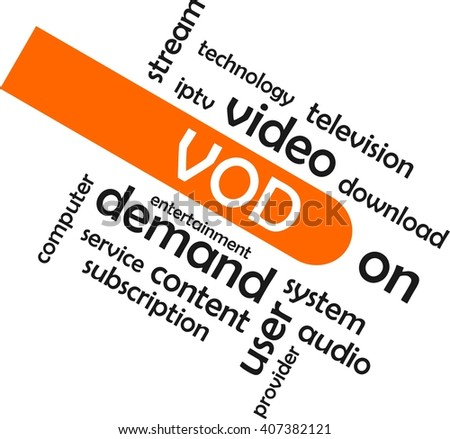 A word cloud of video on demand related items - stock vector