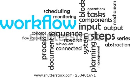 A word cloud of work flow related items - stock vector