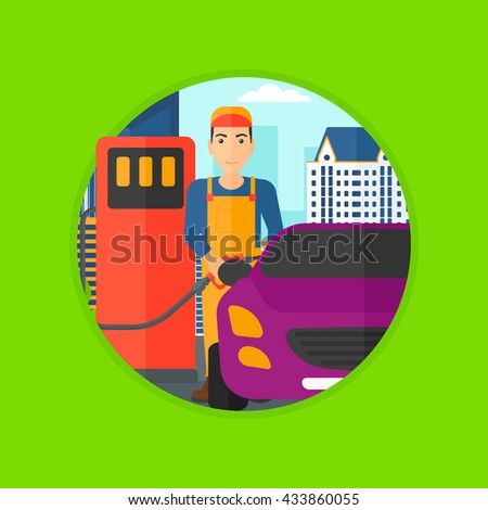 A worker filling up fuel into the car. Worker in workwear at the gas station. Gas station worker refueling a car. Vector flat design illustration in the circle isolated on background. - stock vector