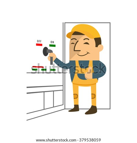 A worker Turning off the electric circuit breaker, off switch, vector illustrator - stock vector