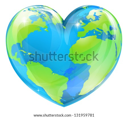 A world globe in the shape of a heart symbol. Concept for loving travel, or loving the world and caring for the environment or similar - stock vector