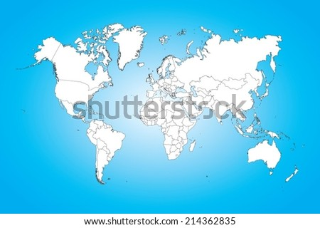 A World map illustration isolated on clean background - stock vector