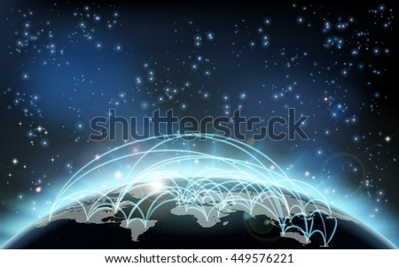 A world trade map transport logistics conceptual illustration of paths joining countries or cities representing travel or trade of goods, information or flights - stock vector