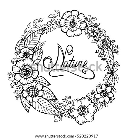 Wreath flowers leaves black white graphic stock vector 520220917 a wreath of flowers and leaves black and white graphic sketch mightylinksfo Gallery