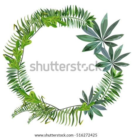 A wreath of tropical leaves.