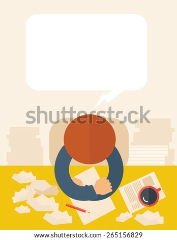 A writer is sitting in front of the table facing downward thinking on what to write with his pen and coffee beside him. Writing and thinking  concept. A contemporary style with pastel palette, beige  - stock vector