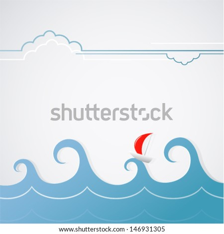A yacht with stormy waves - stock vector