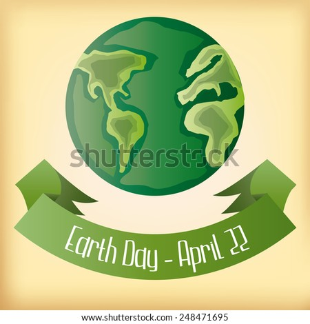 a yellow background with earth and a ribbon with text - stock vector