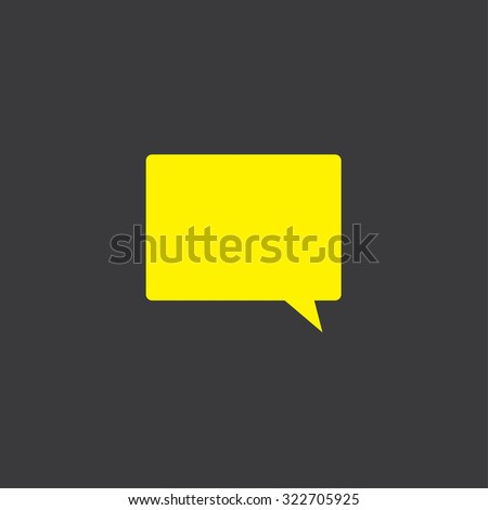 A Yellow Icon Isolated on a Grey Background Speech Bubble Square - stock vector