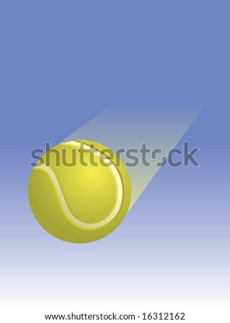 A yellow tennis ball traveling traveling across a blue sky background.