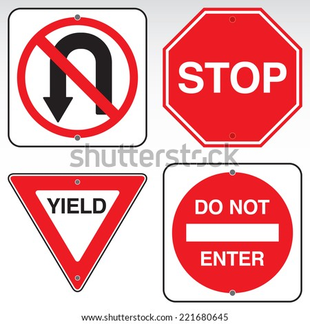 A yield, do not enter, no u-turn, and stop sign in vector format.