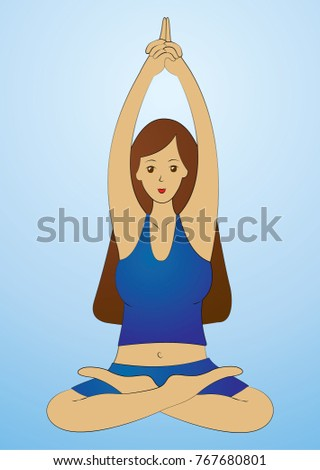 A yogi girl in a lotus pose. Exercise sat Kriya. Hands above the head in the lock, index fingers up.