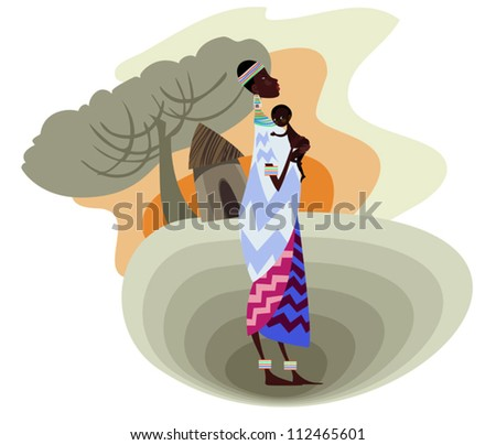 A young African mother with her baby - stock vector