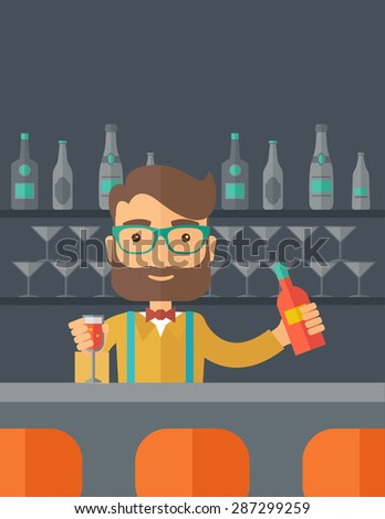 A young bartender preparing a mixed drimks at a bar, several bottles of alcohol and wine glass behind him. A contemporary style with pastel palette black tinted background. Vector flat design - stock vector