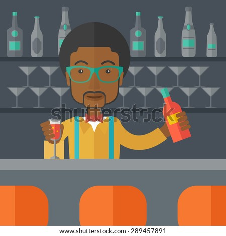 A young black bartender preparing a mixed drinks at a bar, several bottles of alcohol and wine glass behind him. A contemporary style with pastel palette black tinted background. Vector flat design - stock vector