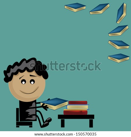 a young boy reading some books and having fun - stock vector